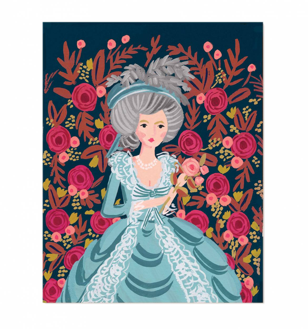 via Rifle Paper Co https://riflepaperco.com/shop/art-prints/marie-antoinette-illustrated-art-print/