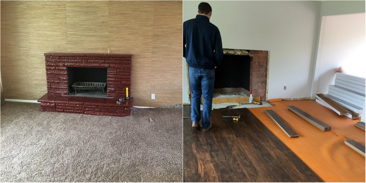before and after of fireplace